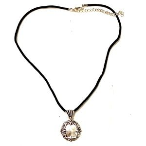 Silver black necklace